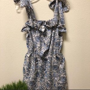 H&M floral print blue and white romper
